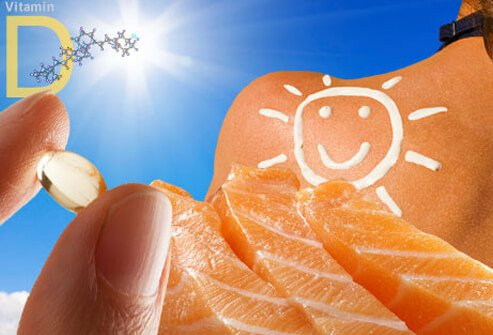 A collage of vitamin D including fish oil, salmon, and sunlight.