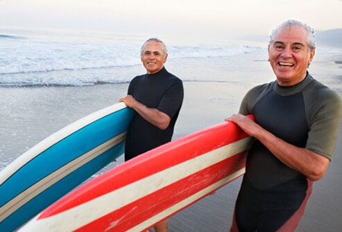 Photo of mature men with surfboards
