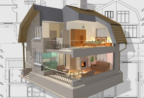 A 3-D cutaway view of a residential home.