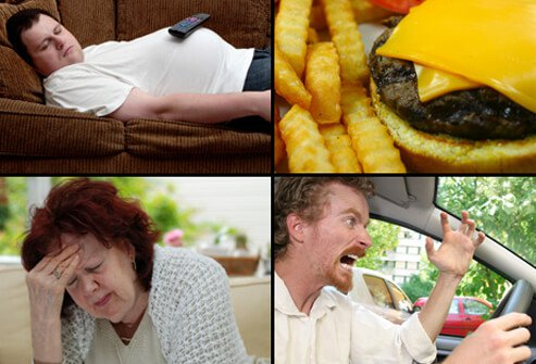 Additional heart disease risk factors include lack of exercise, an unhealthy diet, stress, and a 'Type A' personality.