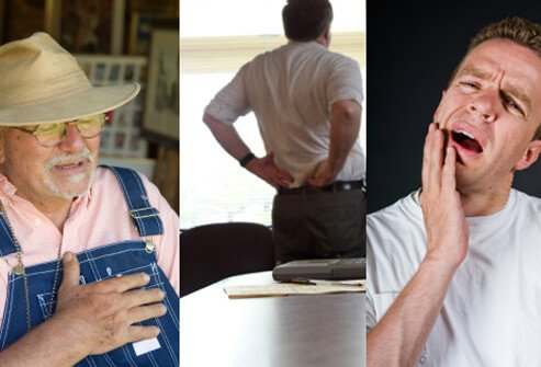 Besides chest pain (angina) and shortness of breath, some other common symptoms of heart disease include jaw pain, back pain, and heart palpitations.