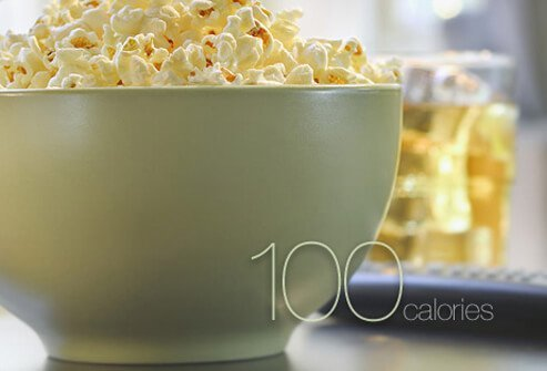 A bowl of microwaveable popcorn.