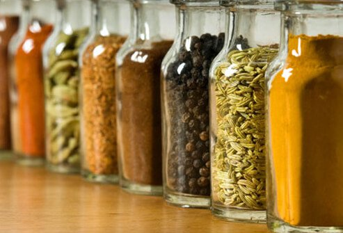 Photo of a row of spices.