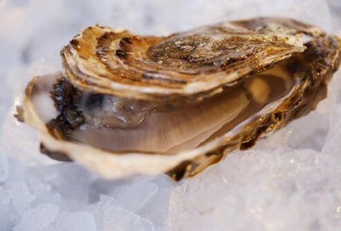 Photo of raw oyster on ice.