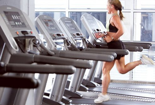 Trainer running on treadmill