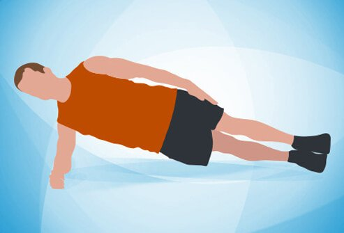 An illustration of a side plank exercise.