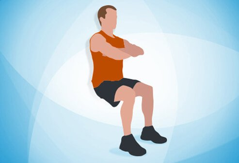 An illustration of wall sits.
