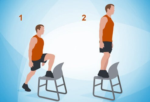 An illustration of step-ups onto a chair.