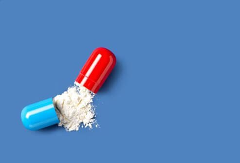 Photo of an open drug capsule.