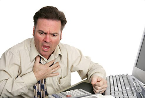 Man pretending to have an asthma attack.