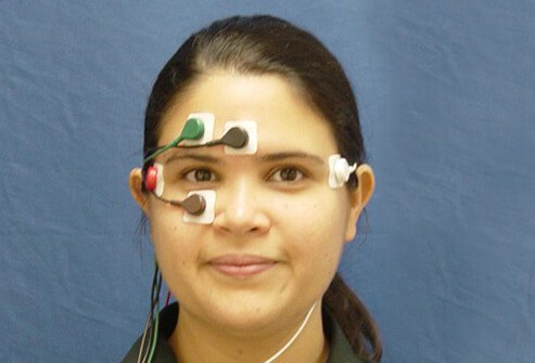 A woman takes a traditional electronystagmography (ENG) test to be evaluated for a balance disorder.