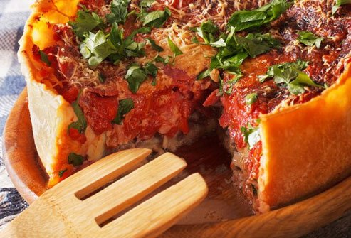 That deep dish means a thicker crust with more carbohydrates.