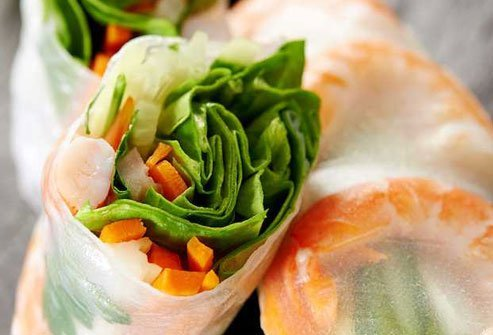 Veggie packed spring rolls are a healthy Thai appetizer.