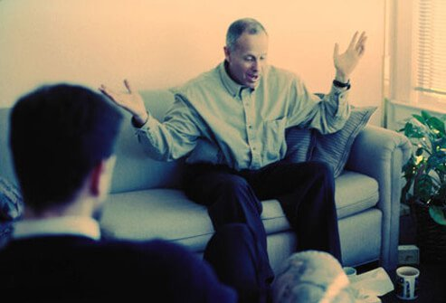 A man has a talk therapy session.