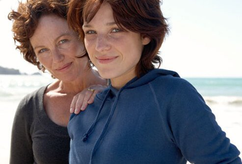 A mother and daughter at the beach.