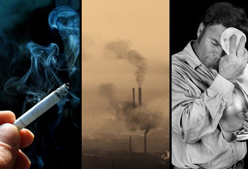 A smoking cigarette, industrial pollution, and a coal miner, all possible causes of chronic bronchitis.