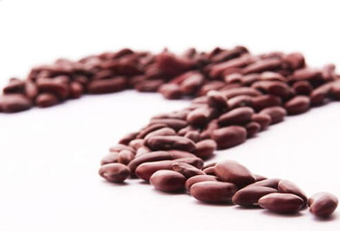 A row of dried beans.