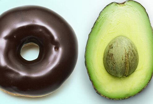 A donut and avocado.