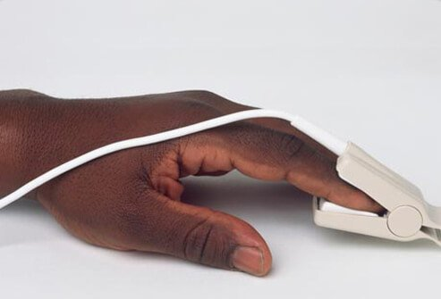 Photo of a hand wearing pulse oximeter during COPD diagnosis.