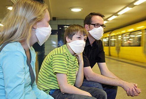 A family wearing masks to protect against Swine flu.