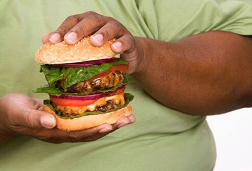 A man holding a hamburger.