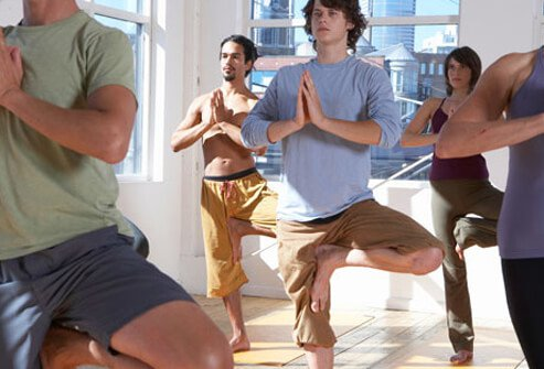 Photo of a yoga class.
