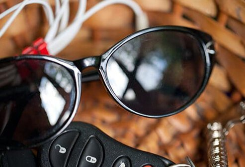 Photo of sunglasses and keys.