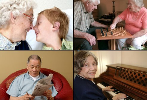 A grandmother interacts with her grandson (top left), a senior couple play chess (top right), a senior man attempts a crossword puzzle (bottom left) and a senior woman plays the piano (bottom right).