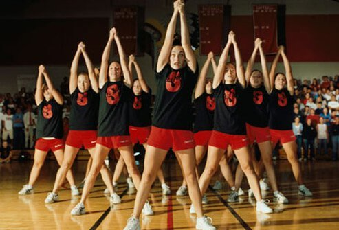 Photo of a team of cheerleaders.