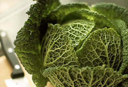 A photo of head of cabbage.