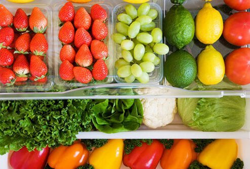 Fresh vegetables and fruit.