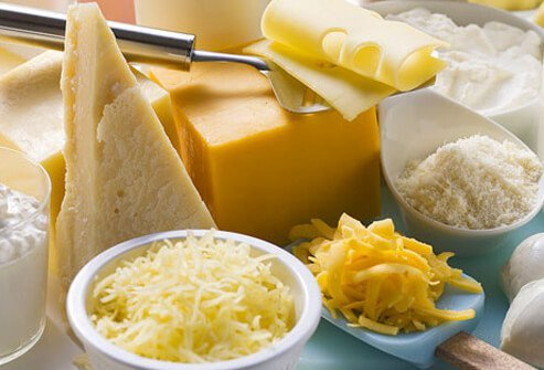 Assortment of cheeses.