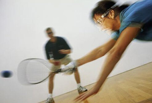Photo of people playing racquetball.