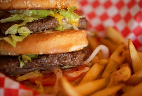 Cheeseburger and French fries.