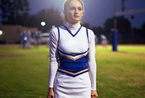 Photo of scared cheerleader.