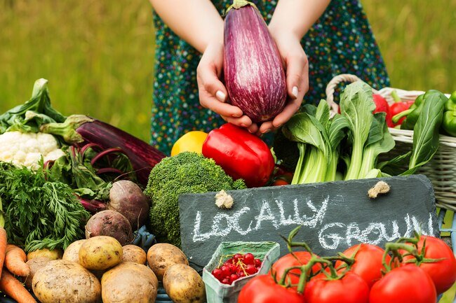 Choose locally grown food that hasn't been processed as often as possible.