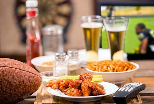 Game day food and football on TV.