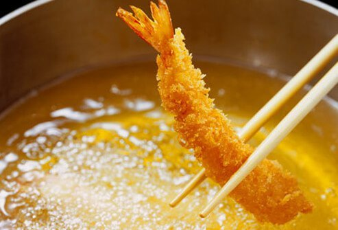 Fried tempura shrimp.