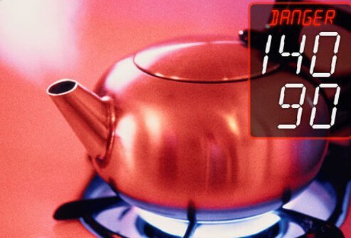 Photo of tea kettle steaming indicating malignant hypertension danger zone level.