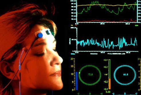 A woman undergoing biofeedback and relaxation training.