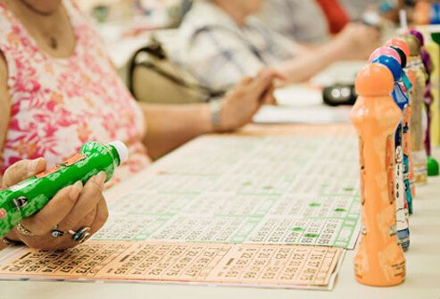 People at a bingo game.
