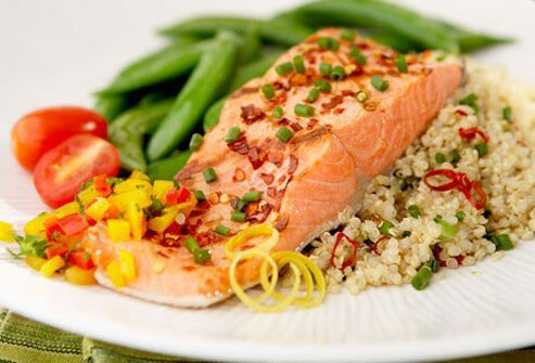 A salmon and quinoa dish.
