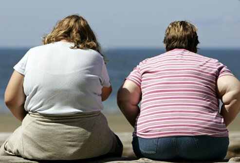 Photo of two obese overweight women.