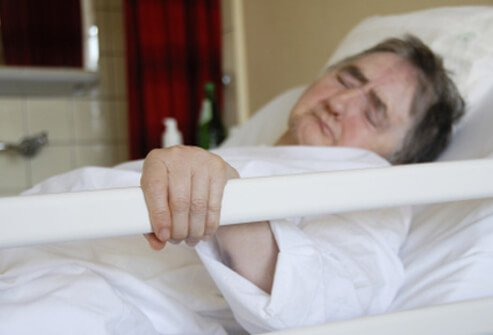 This patient is in pain during his recovery from pancreatic cancer surgery.