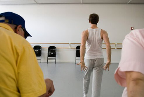 Photo of a dance class for people with Parkinson's.