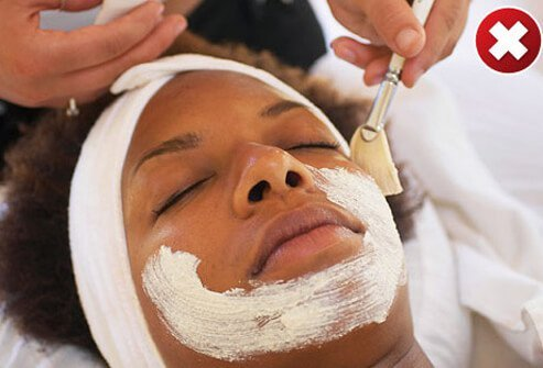 Photo of woman getting a facial.