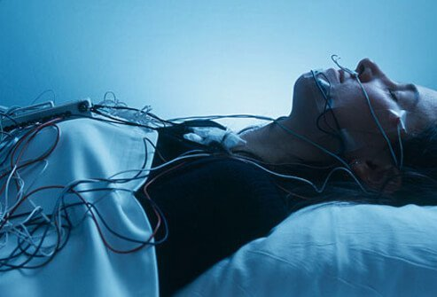 A woman participating in a sleep study.