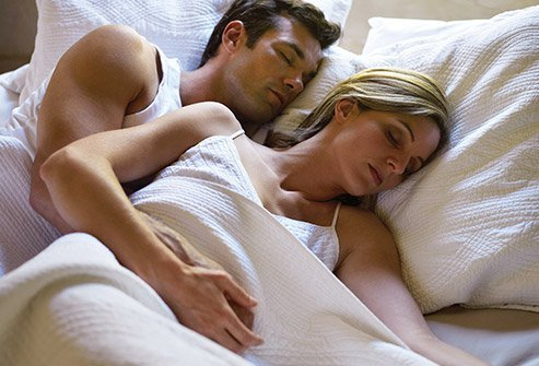 Spooning is a popular couples sleep position.