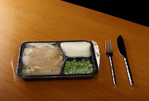 Photo of a frozen TV dinner.