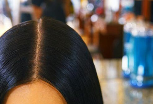Photo of straight hair close up.